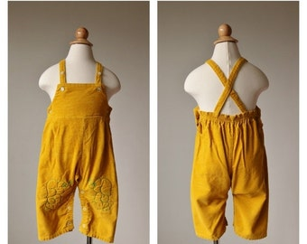 ON SALE 1960s Marigold Elephant Overalls~Size 24 Months to 2t