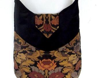 Floral Tapestry Gypsy Bag Messenger Bag Bohemian Black Velvet large bag renaissance bag messenger bag medieval bag