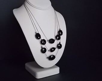 FREE SHIPPING - Kenneth Cole of New York Necklace with faceted black stones