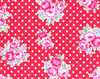 FABRIC FLOWER and SUGAR Sweet Carnival by Lecien Large Roses on Red with Polka Dots