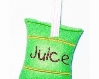 Play food Pretend food  felt juice pouch with straw great for kids play kitchen