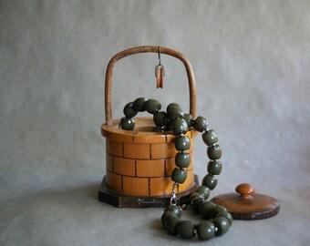 Vintage Moulins France Souvenir, Wooden Wishing Well Trinket Box, French Keepsake Box, Jewelry Storage, Vanity Organizer