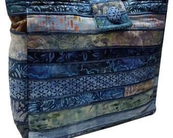 Large Batik Purse in Shades of Blue Fabrics