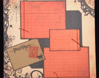 Premade Halloween Single Scrapbook Layout Page, Halloween Album Page, 12x12 Scrapbook Page