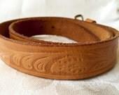 Tooled Leather Belt Vintage Tooled and genuine cow hide Belt Size 2
