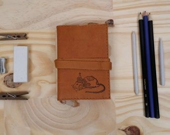 small leather sketchbook journal hand-printed for you Party Mouse