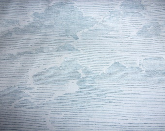 Quilt Fabric 3 Yard Cut Blue Lines with Lined Clouds