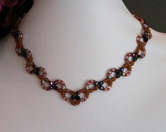 V shaped crystal necklace in earthy tones. Free Shipping to Canada & USA