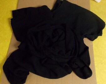 Vintage black lot Moroccan drapey cotton rayon blouse tops cowl hoodie