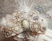 RESERVED for Lisa - IVORY Ostrich Pearl Crystal Fascinator
