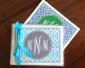 Personalized Monogrammed Folding Notecards, stationery, Preppy Gift, stationary