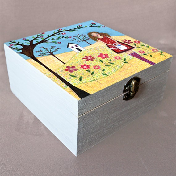 Flower girl large jewelry box trinket box gift box by sascalia for Girls large jewelry box