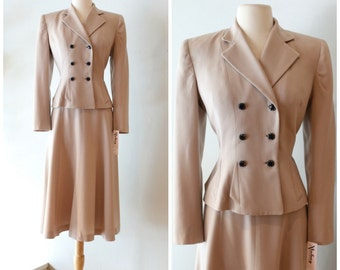 Vintage 1940's Ladies Gabardine Suit ~ Vintage 40s Wool Gabardine Ladies Suit in Taupe