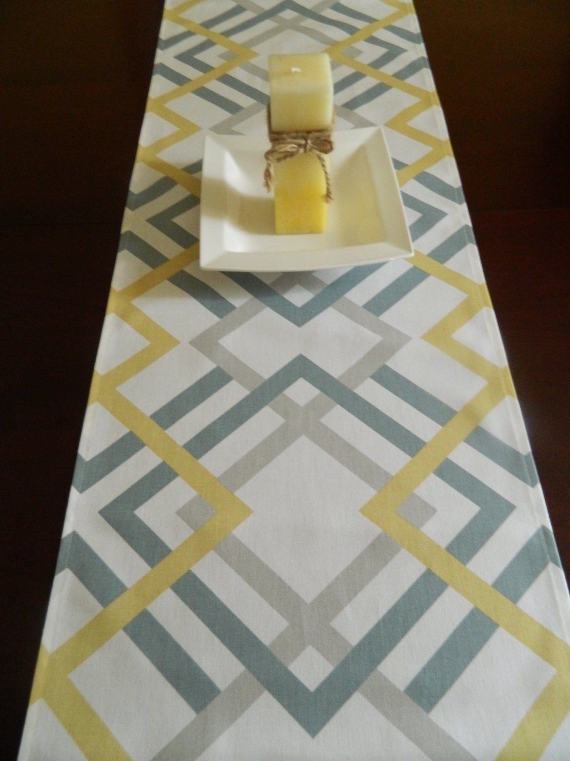 Modern Table Runner Grey Blue And Saffron Yellow Geometric