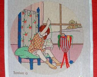 Little Girl working on her Needlepoint Theodora Handpainted #16 Canvas