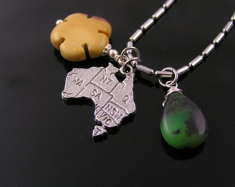 Australia Map Necklace with Australian Gemstones Mookaite, Chrysoprase, Mookaite Jewelry, Australian Jewellery