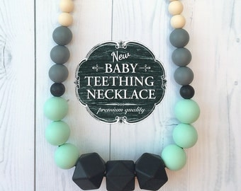 Free Shipping in Canada - Baby Teething Necklace Silicone Nursing Necklace - Black, Mint, Grey and Cream