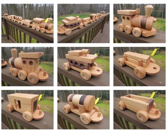 SALE 15 Off Wooden Train set 6 car Handmade toy Large oak and walnut Heirloom Quality  Beautifully hand finished
