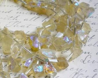 25% Off SALE Mystic Lemon Quartz Briolette Beads,  8 Inches, Aqua Aura  Nugget Gemstone
