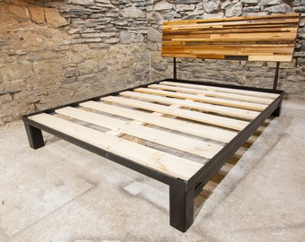 the mosaic platform bed with adjustable headboard from reclaimed wood and industrial metal