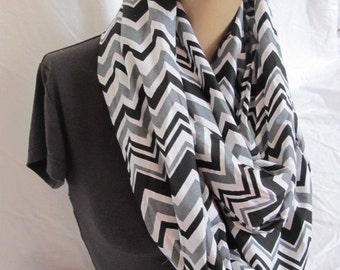 Black Chevron Print Infinity Scarf, Cowl, Fabric Infinity Scarf, Fabric Cowl, Summer Scarf, Summer Cowl, Loop Scarf, Circle Scarf