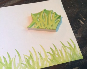 Grass Rubber Stamp Hand Carved