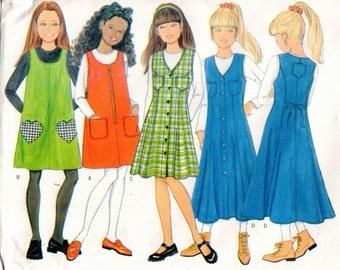 Vintage UNCUT Butterick Pattern 4696 - Girls Easy Jumper with Low Armholes and Pocket Variations & Top - 7-10