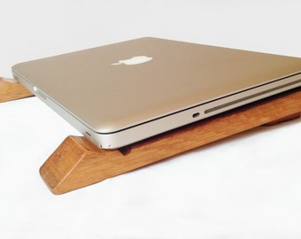Sled, recycled oak wine barrel staves laptop stand