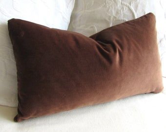 VELVET decorative Pillow 12x20 includes insert chocolate brown velvet fabric