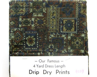 Vintage Cotton Yardage - Drip Dry Prints in Blue and Brown - Dead Stock Fabric / 4 yards