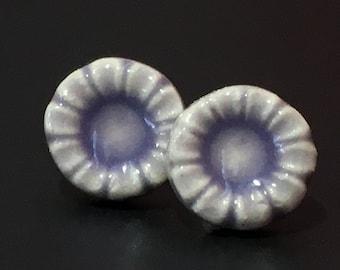 Porcelain Earrings Handmade Ceramic Earrings Lilac Purple  Flower Post Earrings