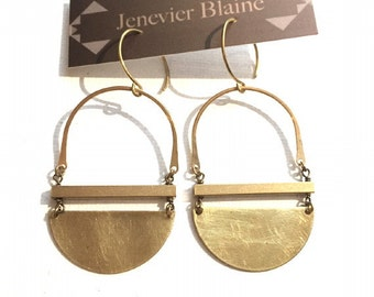 Golden Half Circle and Square Bar Earrings