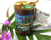 Kona Brewing Company Lemongrass Luau Upcycled Beer Bottle Candle Scented or Unscented Limited Edition Seasonal Brew Made in Hawaii Candle