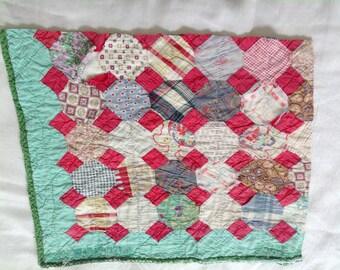 Vintage Cutter Quilt Piece Primitive Reds Green Christmas Craft Supplies 15 x 17