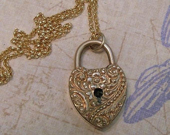 Victorian Padlock Charm Necklace, Old Padlock Charm, Love Locks Necklace, Repousse Gold Filled Charm (L149)