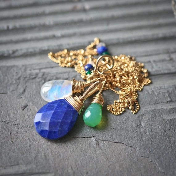 Marta - Gemstone Trio - Lapis lazuli, Rainbow Moonstone and Green Chalcedony 14k Gold Filled Wire Wrapped necklace