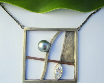 Necklace Tahiti Pearl, Zircon, Unique One of a kind Sterling Silver Pendant by marc Gounard in Sausalito CA