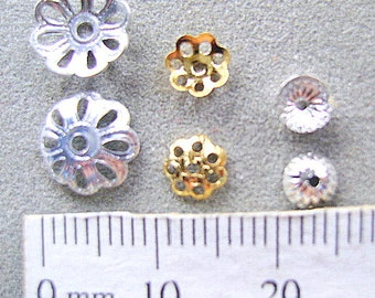 BEAD CAPS, SILVER, Gold,Plated, filligre, Corrugated, 5mm, 6mm, Domed, 10mm, antiqued, I