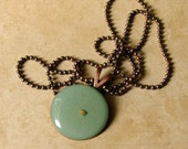 Mustard Seed Necklace... Seafoam Green Blue on Antique Copper - Green Blue Mustard Seed Necklace - Mustard Seed Faith - Mustard Seed Jewelry