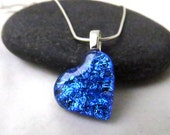Fused Glass Heart Necklace - Offset Bright Blue - Dichroic Glass Pendant
