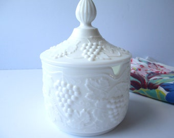 Vintage Imperial Glass Milk Glass Grape Jar