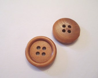 8 Brown Wooden Buttons Sewing Craft Supplies