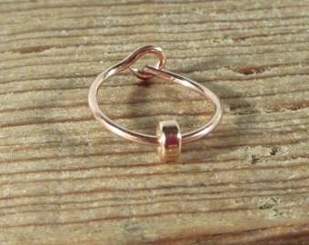 Hoop Earrings Pink Gold with Pink Gold Band SINGLE-  Beaded Hoop, Single Hoop, Tragus Hoop, Rook Hoop, Daith Hoop, Helix Hoop, Cartilage