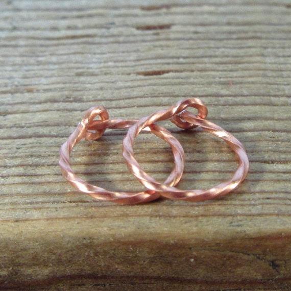 Hoop Earrings Copper Twist - Copper Earrings, Active Hoops, Sleeper Hoops, Everyday Hoops, Small Hoop Earrings, Tiny Hoop Earrings