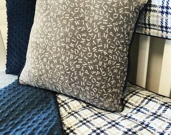 Boy Crib Bedding, Toddler Bedding, Houndstooth, Houndscheck, Blue and Gray, Accent Pillows, Railguard