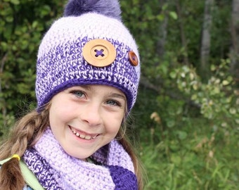 Purple crochet hat for girls - crochet hat and scarf set - crochet hat with wood buttons - winter hat set - hat with pom pom - handmade