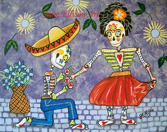 """Instant Download Printable Art jpeg Frida Kahlo and Diego Rivera """"The Proposal"""" Day Of The Dead Art Print Mexican Folk Artist J Ellison"""