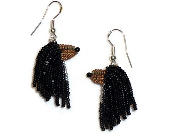 Black & Tan AFGHAN HOUND keepsake beaded dog sterling silver drop earrings/ Ready to Ship/ Free US Shipping
