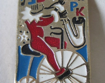 Clown Bike Horn Brooch Gold Red Blue White Russian Vintage Pin Music