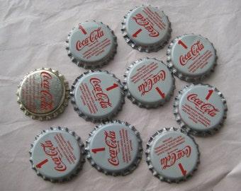 10 Coke Bottle Caps White Red Gold Supplies Vintage Coca Cola